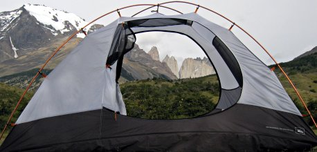 Tent frames the Torres del Paine