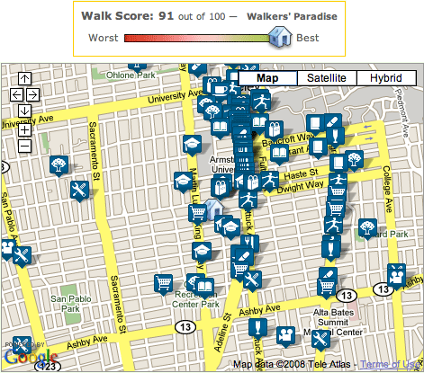 Walk Score for my house in Berkeley, California: 91 of 100