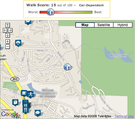 Walk Score for my house in Ogden, Utah: 15 of 100
