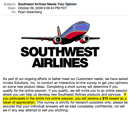 Take a Southwest survey for $15