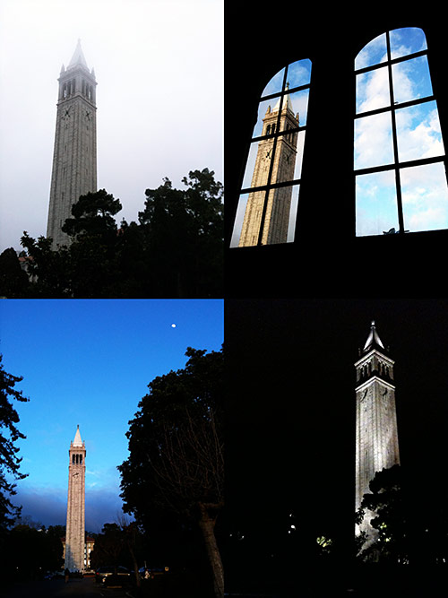 Four photos of Sather Tower