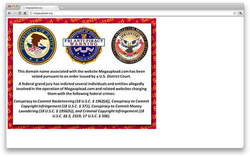 Screenshot of FBI notice at MegaUpload.com